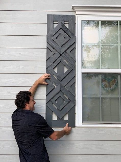 Designer-Inspired DIY Custom Shutters - Designer-Inspired DIY Custom Shutters Want designer shutters without the designer-cost? Check out this tutorial and get inspired to go beyond basic and create your own DIY custom shutters! Architecture Renovation, Home Renovation, Home Remodeling, Home Upgrades, Cheap Home Decor, Diy Home Decor, Custom Shutters, Diy Shutters, Modern Shutters