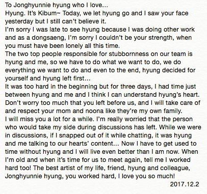 The Translation Of Letter That Kibum Wrote For Jonghyun Oppa Shinee Jonghyun Jonghyun Kpop Quotes