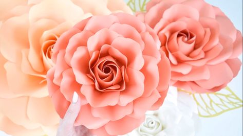 How to make rose centers flower tutorial. Rose petal printable pattern with SVG cut files.  Use these giant paper roses for baby showers, nursery decor, wedding backdrops and more! Download the templates here!
