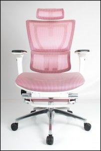 Pretty in Pink! Mirus Office Chair with mesh back and fabric seat.  #ergonomicchair #pinkchair