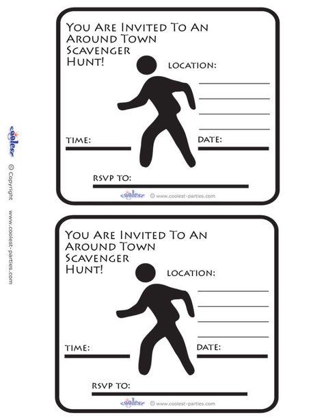 Printable Around Town Scavenger Hunt Invitations