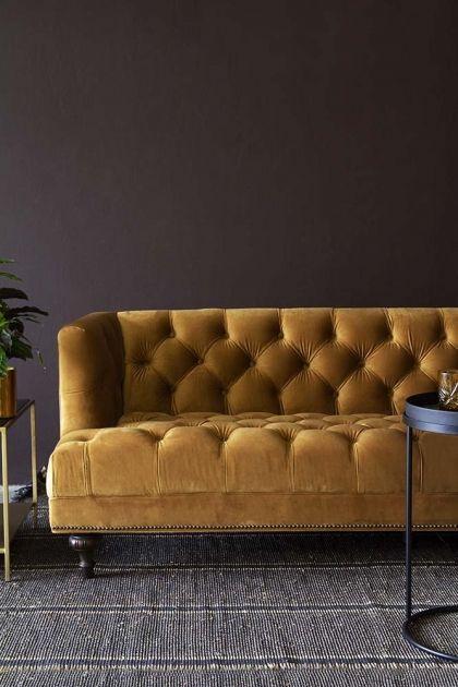 Ochre Gold Velvet Chesterfield Sofa Living Room Decor In