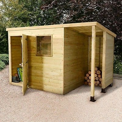 7x5 Shed Republic Ultimate Heavy Duty Shed Single Door On Left With 3 Logstore On Right Shed Shed Plans Shed With Log Store