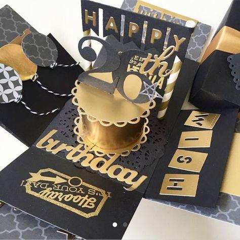 birthday explosion box card in gold and black - Schachteln Basteln