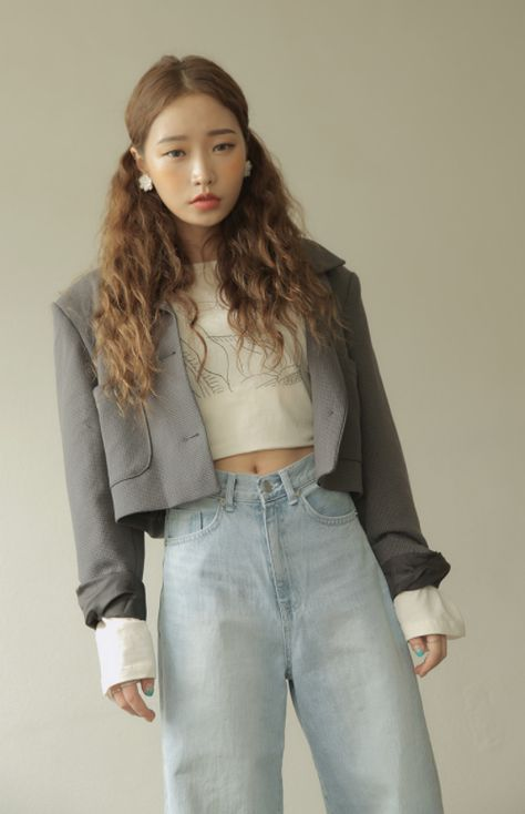 [Stylenanda] Houndstooth Pattern Cropped Jacket