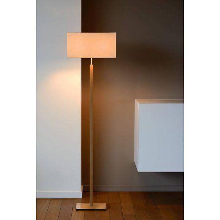 Staande Lamp Met Hout En Stoffen Kap Taupe 150cm Hoog Vloerlamp Binnenverlichting Muurverlichting
