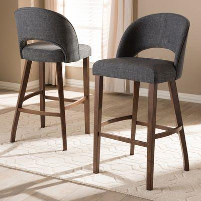 Venza Dark Gray Upholstered Bar Stool Set Of 2 Upholstered Bar