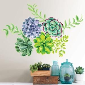 Wall Pops Green Desert Flower Wall Decal Dwpk2758 Flower Wall