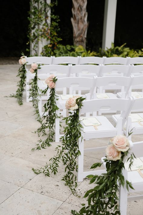Greenery outdoor wedding aisle decoration ideas with a touch of blush. Having flowers on the chairs on the aisle add more color to the ceremony. Wedding Isle Decorations, Outdoor Wedding Centerpieces, Chair Decoration Wedding, Marquee Decoration, Church Decorations, Wedding Aisle Outdoor, Wedding Ceremony Chairs, Diy Wedding Aisle Decor, Summer Wedding Venues