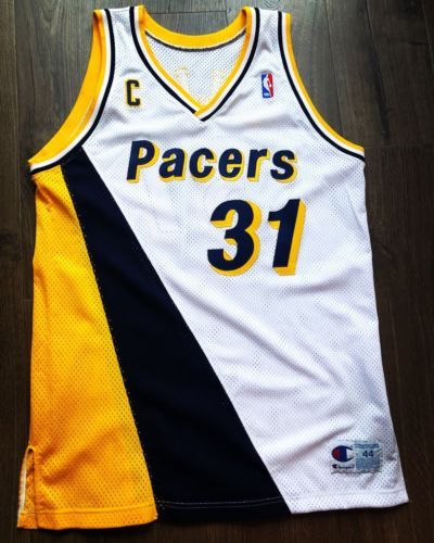 Champion Game Jersey Issued Pacers Jersey Used Worn Reggie Miller Jersey 44+2   336b2ce98