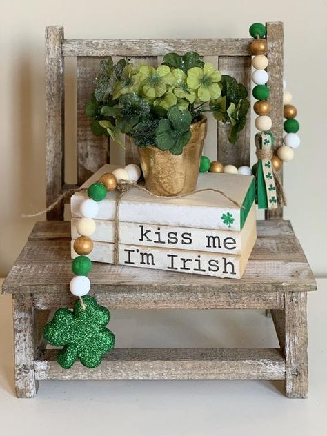 This shamrock wood bead garland is the perfect addition to your St. Patrick's Day decor! Looks great on a tiered tray or any kind of display! *** this item ships free! Wood Bead Garland, Beaded Garland, Felt Garland, Wooden Books, Painted Books, Diy Repurposed Books, Irish Celebration, Old Book Crafts, Farmhouse Books