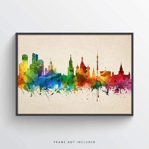 Moscow Skyline Watercolor Art Print