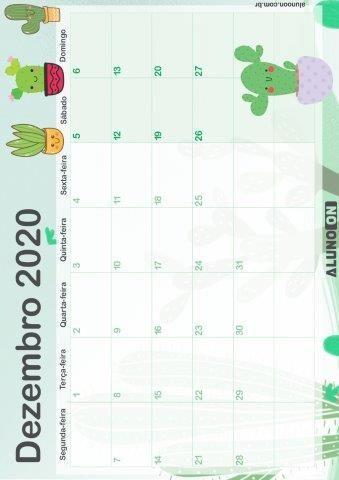 Calendario Cactos 2020 Em 3 Modelos Aluno On Calendarios