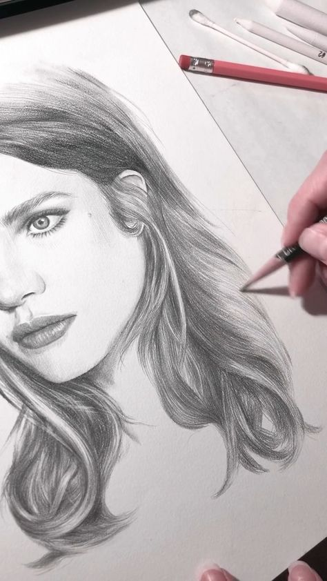 Final piece of drawing hair in this portrait of Na #artsketches #drawing #Final #hair #Natalia #piece #Portrait #Vodianova