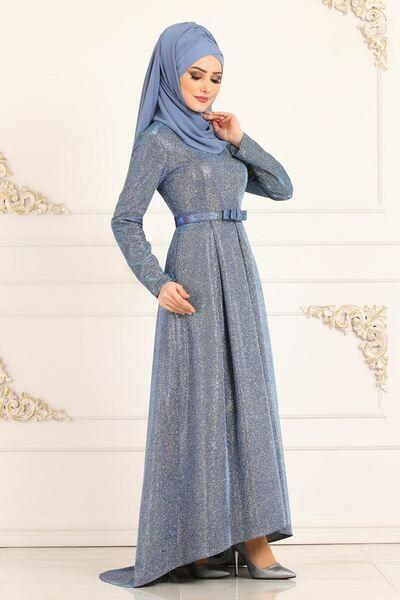 Modaselvim Abiye Simli Kuyruklu Abiye 2147ms212 Indigo Elbiseler The Dress Moda Stilleri