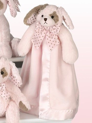 Puppy Dog Pink Animal Snuggler Personalized Security Blanket Baby Blankie
