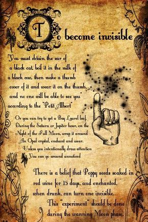 photograph regarding Printable Spell Book Pages identify In the direction of Turn out to be Invisible Spell (Printable Spell Web pages) Witches