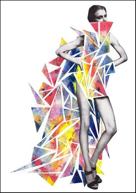 Colorful Illustrations and Collages by Niky Roehreke. Digital collage, modern look, common use of triangles though