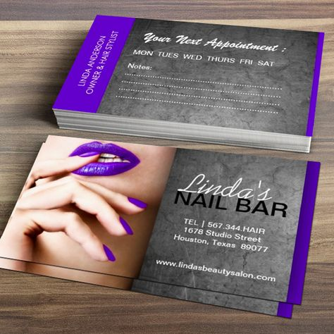 Fully customizable nail technician business cards designed by Colourful Designs Inc.