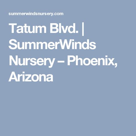 Tatum Blvd Summerwinds Nursery Phoenix Arizona