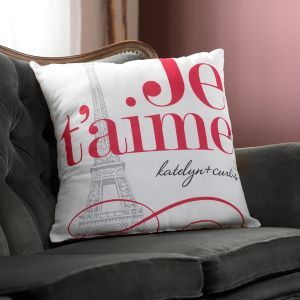 Personalized Wedding Pillow - Red Je T'aime