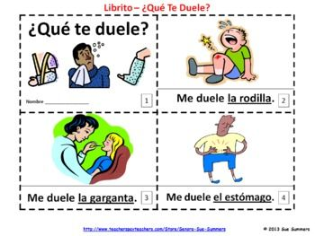 Spanish Body Parts 2 Emergent Reader Booklets ¿Qué Te Duele? Me Duele.