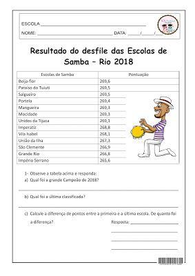 Sosprofessor Atividades Samba Rio Escola Atividades