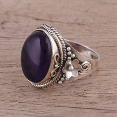 Amethyst cocktail ring, 'Paradise Found' - Amethyst Cabochon Cocktail Ring in Sterling Silver Boho Jewelry, Gemstone Jewelry, Jewelry Rings, Jewelry Design, Unique Jewelry, Indian Jewelry, Jewlery, Fashion Jewelry, Sterling Silver Jewelry