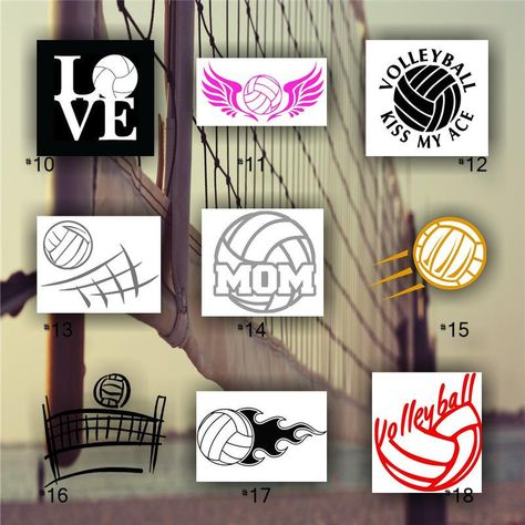 Volleyball Vinyl Decals Custom Car Window Stickers Personalized Vinyl Decals Team Sports Decal 10 Vinyl Decals Window Stickers Vinyl Decal Stickers
