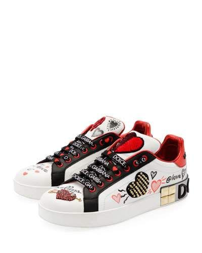 Dolce & Gabbana Leather Low Top Sneakers with Graffiti