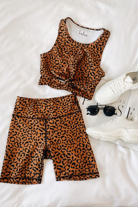 Lulus Exclusive! The Lulus Lulus MVP Moves Tan Leopard High Waisted High Impact Biker Shorts are our first pick for every exercise or an easy athleisure outfit! These high impact biker shorts are composed of moisture-wicking, UV reducing, breathable Ecotíve™ stretch knit fabric that repels water. Figure-skimming fit with a high and wide comfortable waistband and flat seaming throughout. Pair with the matching cropped tank or sports bra for a complete look! #lovelulus