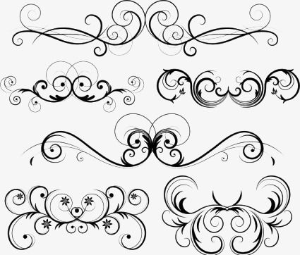 Free Vector Ornate Swirl Hand Painted Gorgeous Black And White Png Transparent Clipart Image And Psd File For Free Download Ornate Swirl Swirls Embroidery Patterns