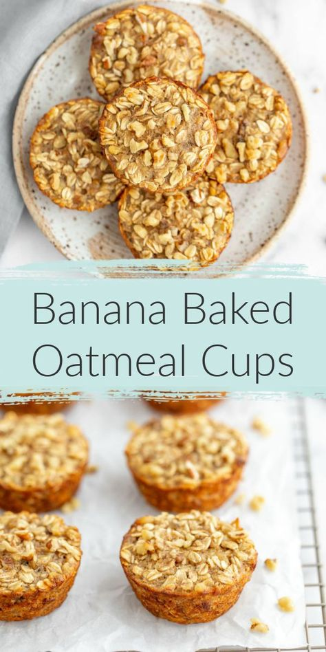 Recipes Snacks Bars These Banana Baked Oatmeal Cups are packed full of oats, bananas, and incredibly delicious! Banana bakd oatmeal cups are perfect for an easy and healthy breakfast throughout the week. Baked Oatmeal Cups, Baked Oatmeal Recipes, Baked Oats, Baked Banana, Banana Oatmeal Bake, Recipes With Quick Oats, Oatmeal Banana Muffins Healthy, Healthy Banana Cookies, Healthy Baked Oatmeal