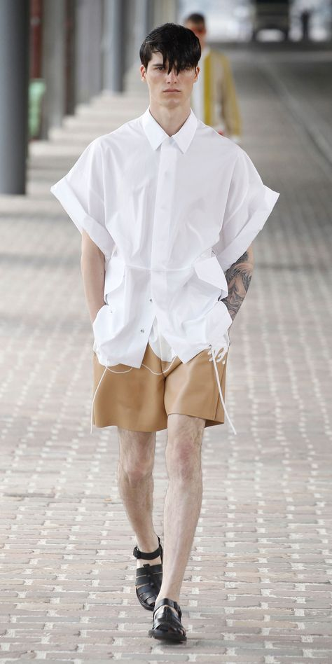 Philip Lim WHITE OVERSIZED SHIRT JACKET WITH DRAWSTRING WAIST NUDE SCUBA LEATHER ATHLETIC SHORT WITH SEAMED WAVE APPLIQUE