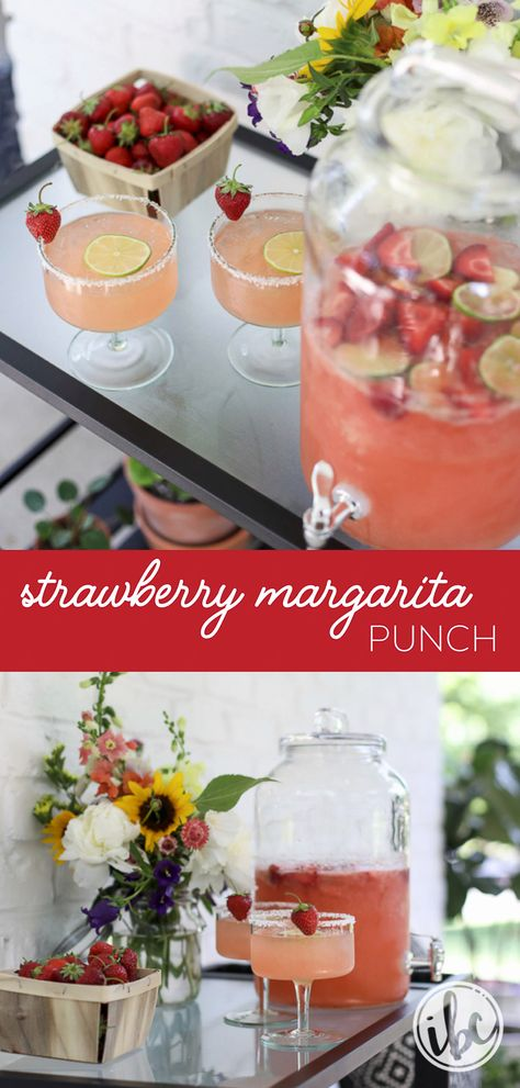 This Strawberry Margarita Punch is so easy and delicious! It's the perfect summer cocktail for entertaining. #summer #cocktail #entertaining #margarita #recipe #punch #tequila