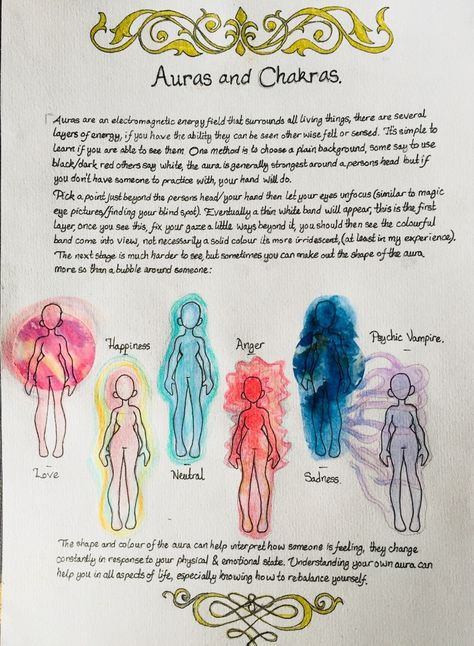 The Witch of the Wolds — Auras and Chakras I will be doing a separate page. Witchcraft Spell Books, Witch Spell Book, Magick Spells, Green Witchcraft, Wiccan Magic, Wiccan Witch, Aura Reading, Grimoire Book, Les Chakras