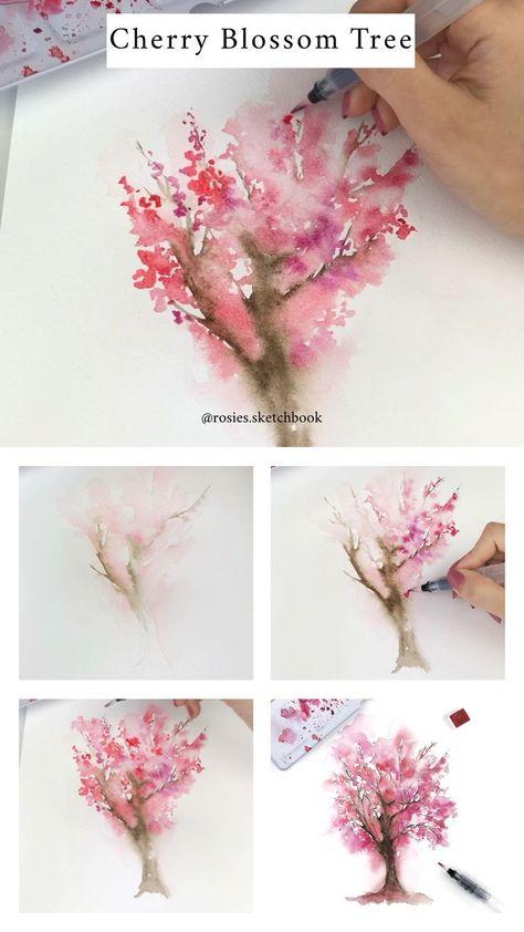Kirschbluten Baum Tutorial Blumenzeichnungen Wie Man Blumen Malt