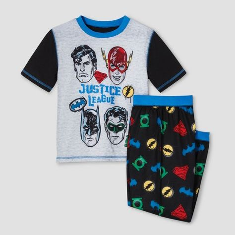 b6a80adeeb Boys' Justice League 2 Piece Short Sleeve Superhero Pajama Set - Black :  Target