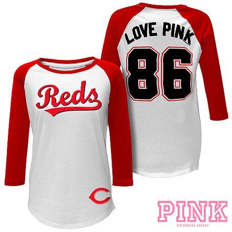 Cincinnati Reds Victoria s Secret PINK Baseball Tee  a5d9d0d115a