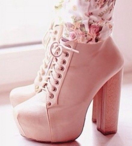 Cute pastel pink ankle boots, pink lace up platform booties ...