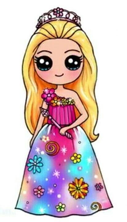 Hermosa Princesa Con Vestido Floreado Kawaii