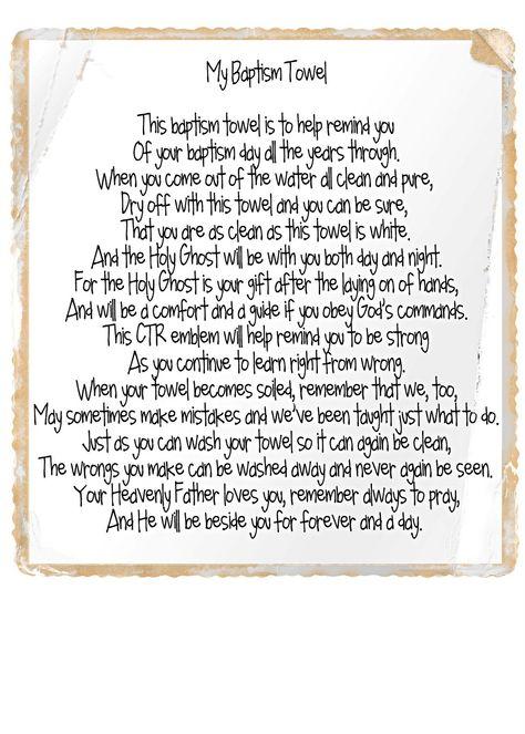 baptism towel poem