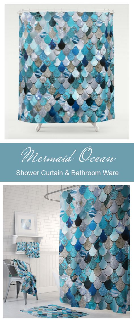 Mermaid Ocean Blue Shower Curtain Matching Towels And Bath Mat Available At Plush