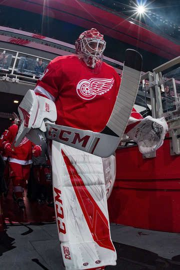 Detroit Mi November 03 Jonathan Bernier 45 Of The Detroit Red Wings Walks To The Ice Prior To An Nhl Game Against The Edmonton Oilers At Little Caesars Are
