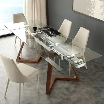 Modern Extendable Dining Table With Tempered Glass Top Iside Extendable Glass Dining Table Uk Kitchen Cabinets Di 2020 Kayu Daur Ulang