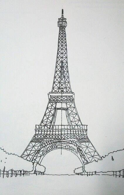 картинки эйфелевой башни карандашом легко и красиво поэтапно