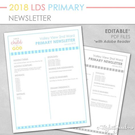 Lds 2018 Primary Newsletter I Am A Child Of God Theme Printable