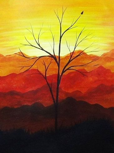 Red Mountains And Trees Acrylic Painting Silhouette Artwork