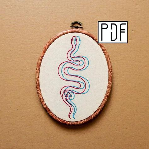 Digital PDF pattern - 3D Snake Hand Embroidery Pattern (PDF modern hand embroidery pattern)
