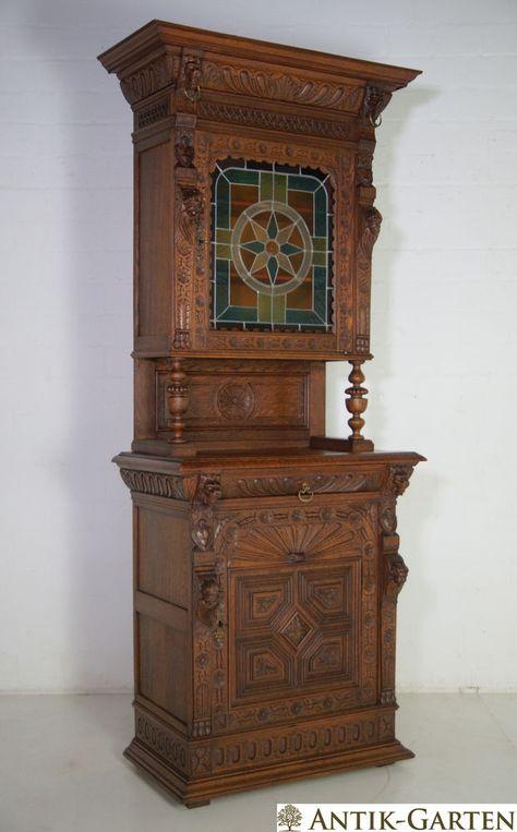 Antik Buffet Schrank Eiche Massiv Historimus Grunderzeit Um 1890 Lowenkopfe Eiche Massiv Grunderzeit Eiche